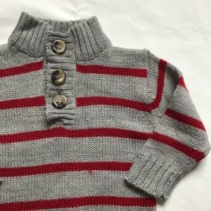 Other - Gray and red striped acrylic sweater 18m